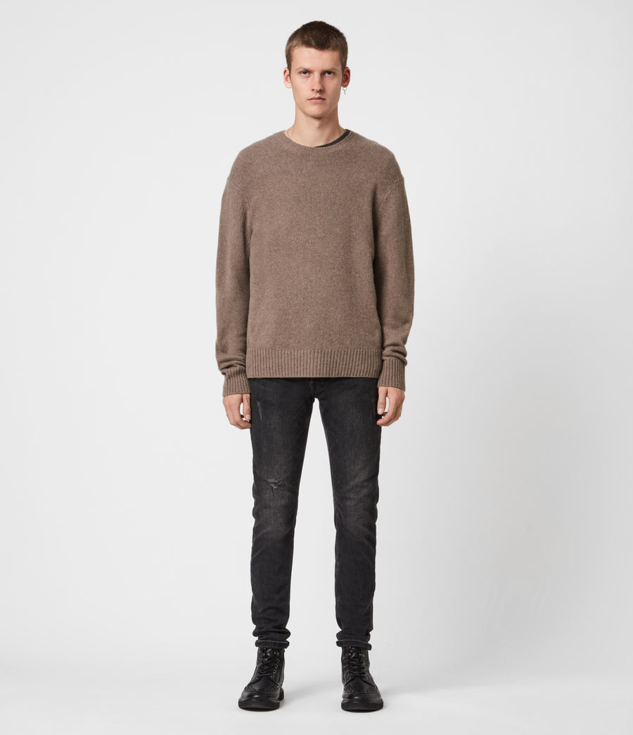 Mens Ike Cashmere Crew Sweater (fawn_brown_marl) - Image 1