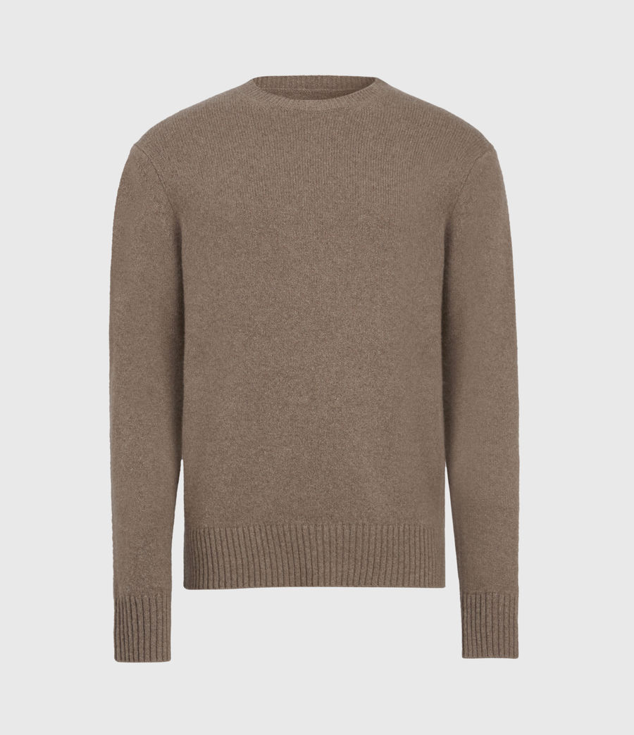 Mens Ike Cashmere Crew Sweater (fawn_brown_marl) - Image 2