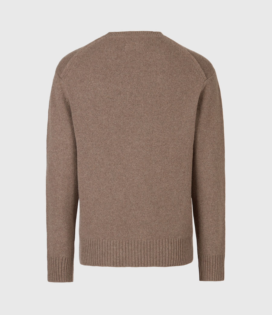 Mens Ike Cashmere Crew Sweater (fawn_brown_marl) - Image 3