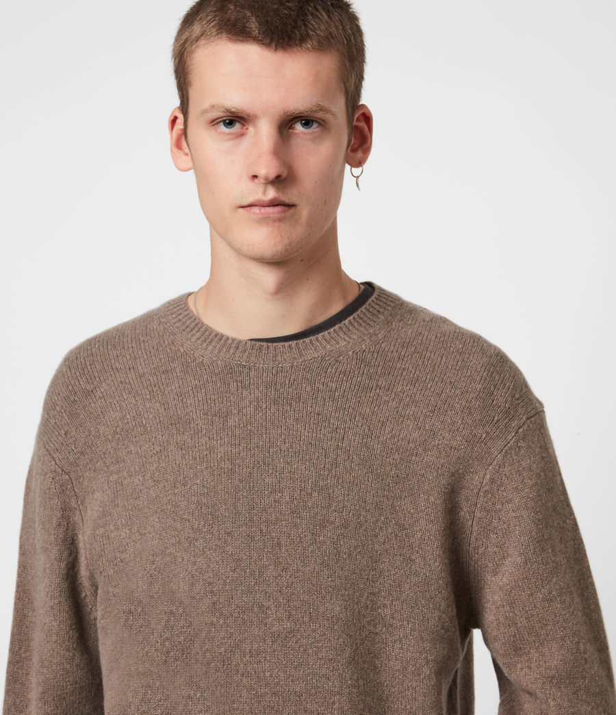 Mens Ike Cashmere Crew Sweater (fawn_brown_marl) - Image 4