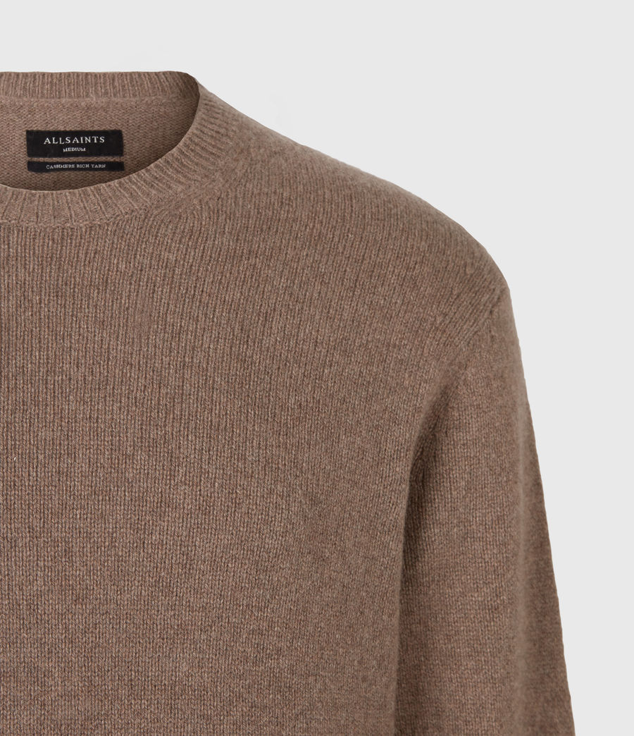 Mens Ike Cashmere Crew Sweater (fawn_brown_marl) - Image 5