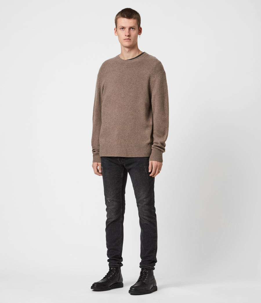 Mens Ike Cashmere Crew Sweater (fawn_brown_marl) - Image 6