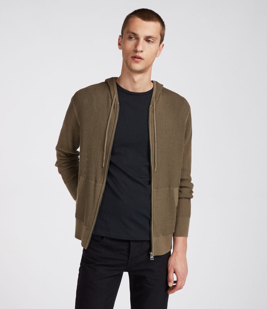 Hombres Sudadera con capucha Ave Zip (olive_green) - Image 1