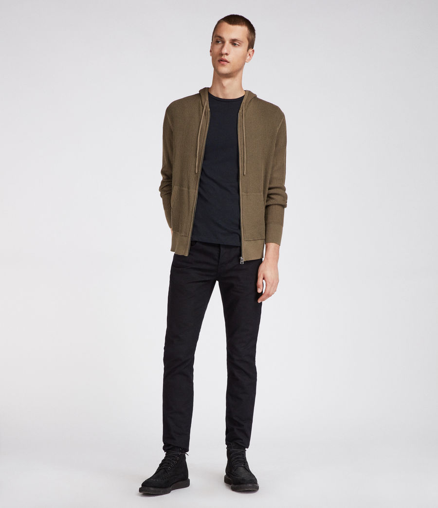 Hombres Sudadera con capucha Ave Zip (olive_green) - Image 4