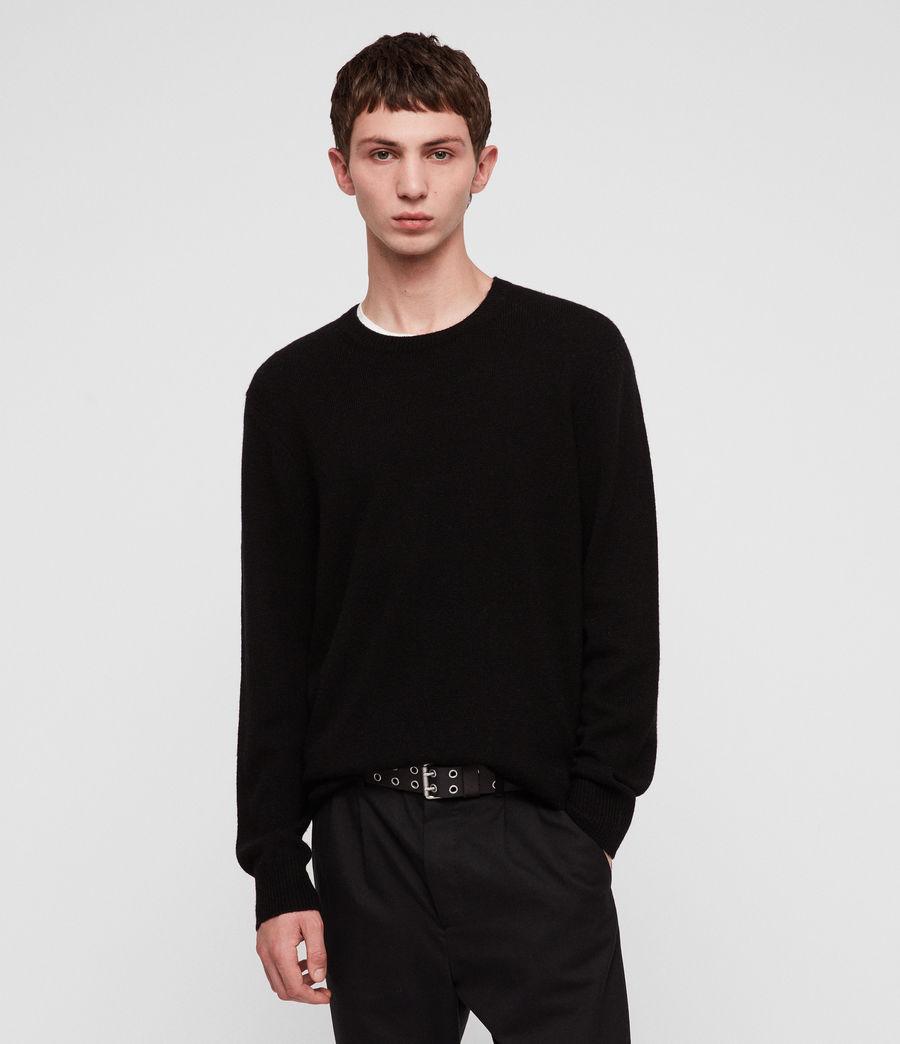 Mens Travon Crew Sweater (black) - Image 1
