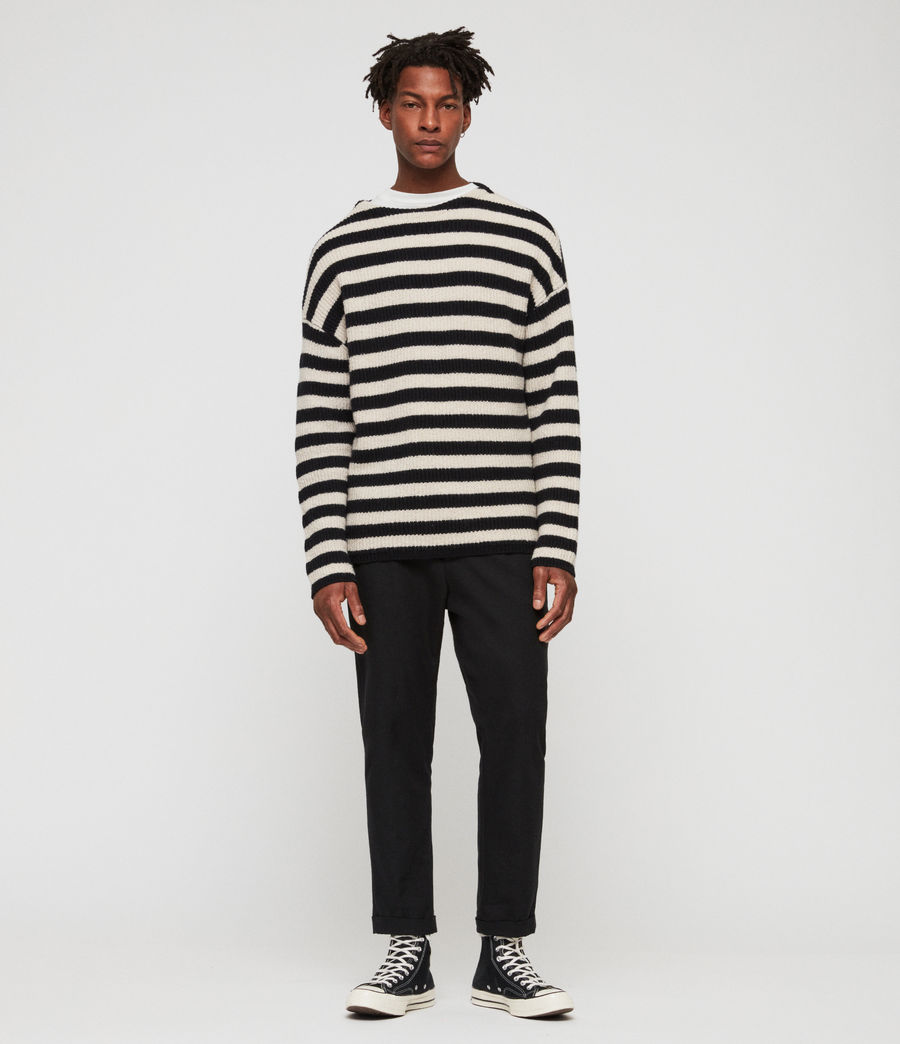 Men's Luca Crew Jumper (ink_navy_ecru) - Image 1