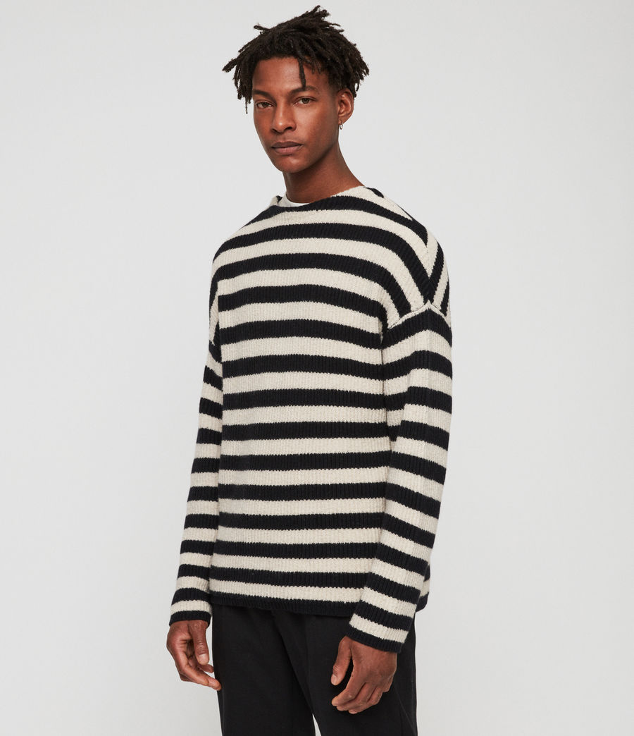 Men's Luca Crew Jumper (ink_navy_ecru) - Image 2