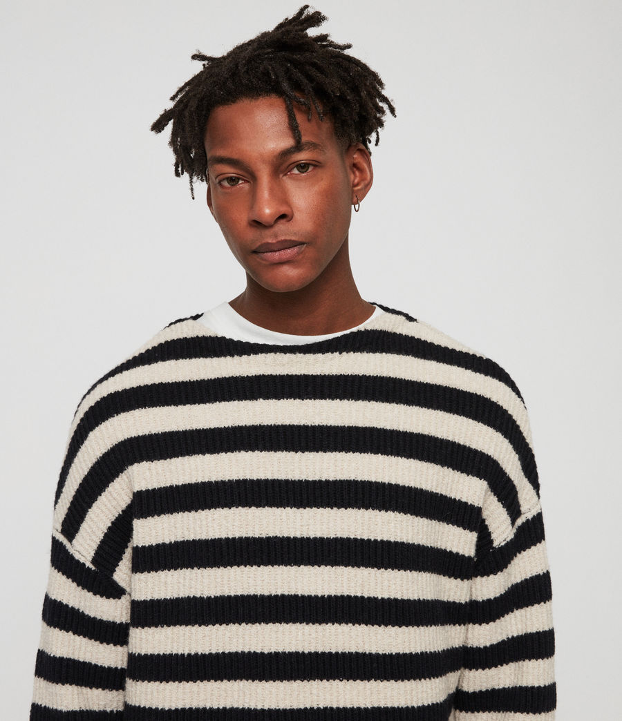 Men's Luca Crew Jumper (ink_navy_ecru) - Image 3