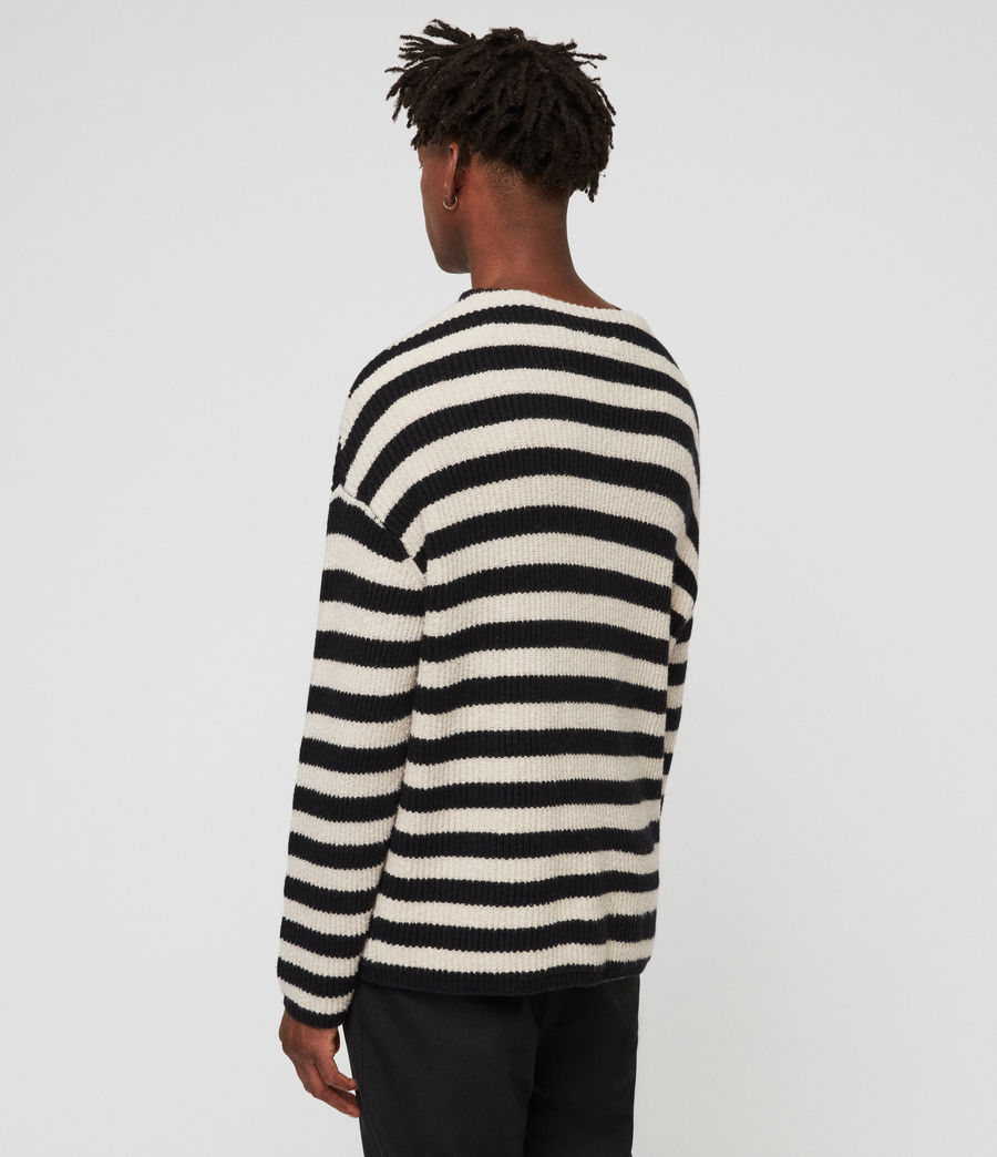 Men's Luca Crew Jumper (ink_navy_ecru) - Image 4