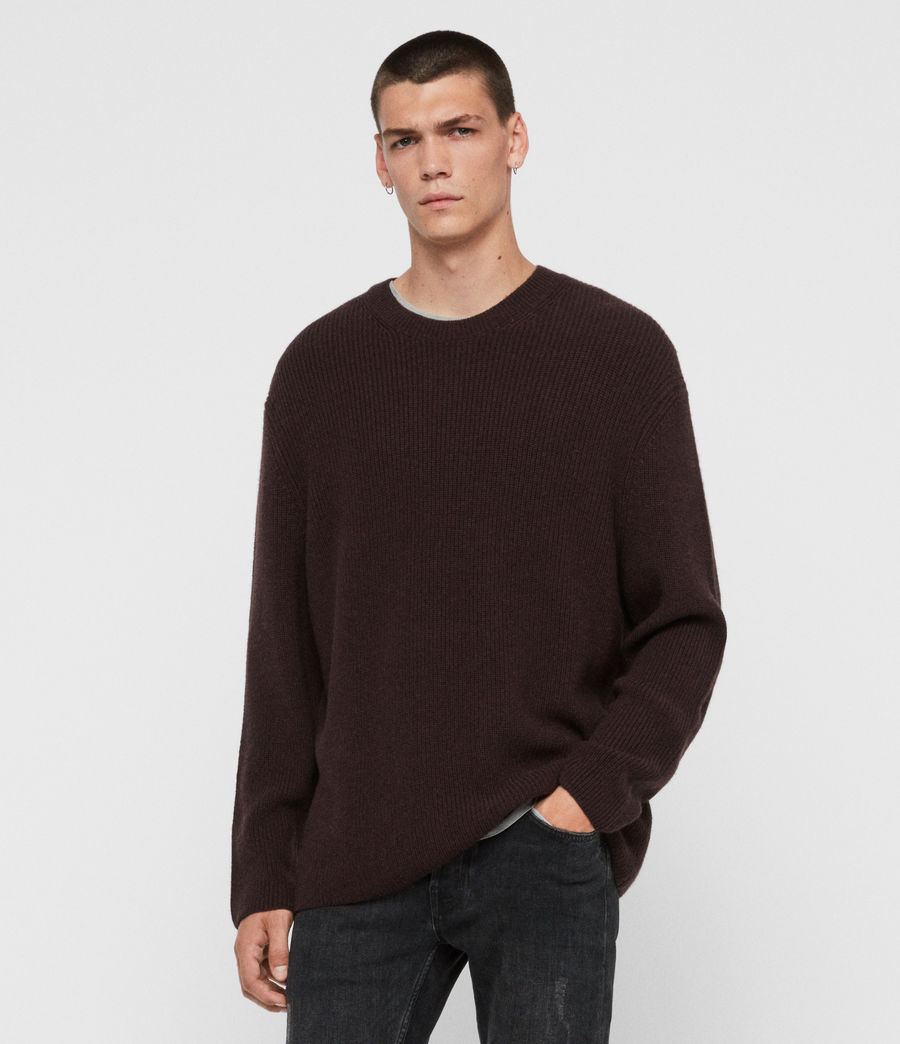 Men's Jensen Crew Jumper (oxblood_red) - Image 1