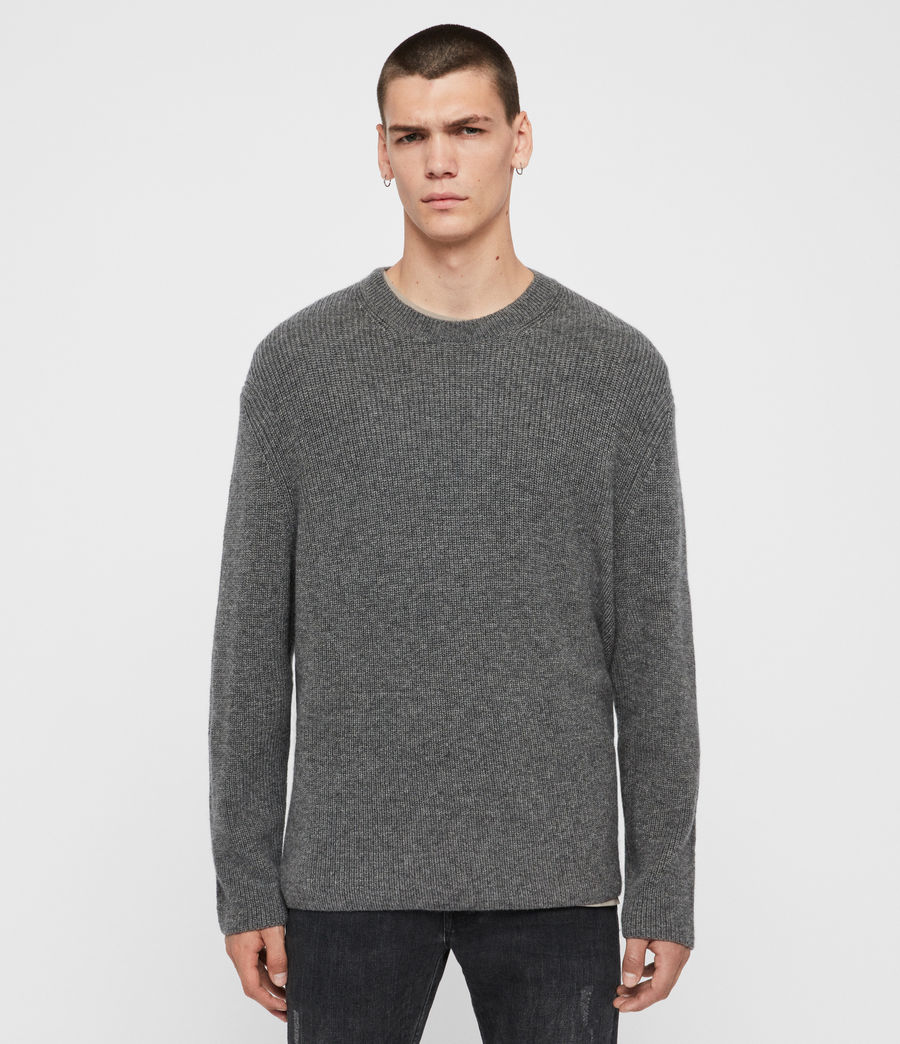 Mens Jensen Crew Sweater (charcoal_marl) - Image 1