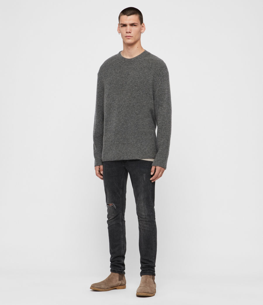 Mens Jensen Crew Sweater (charcoal_marl) - Image 3