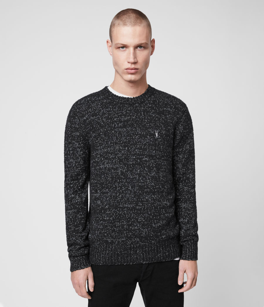 Mens Spire Crew Sweater (black_marl_ecru) - Image 1
