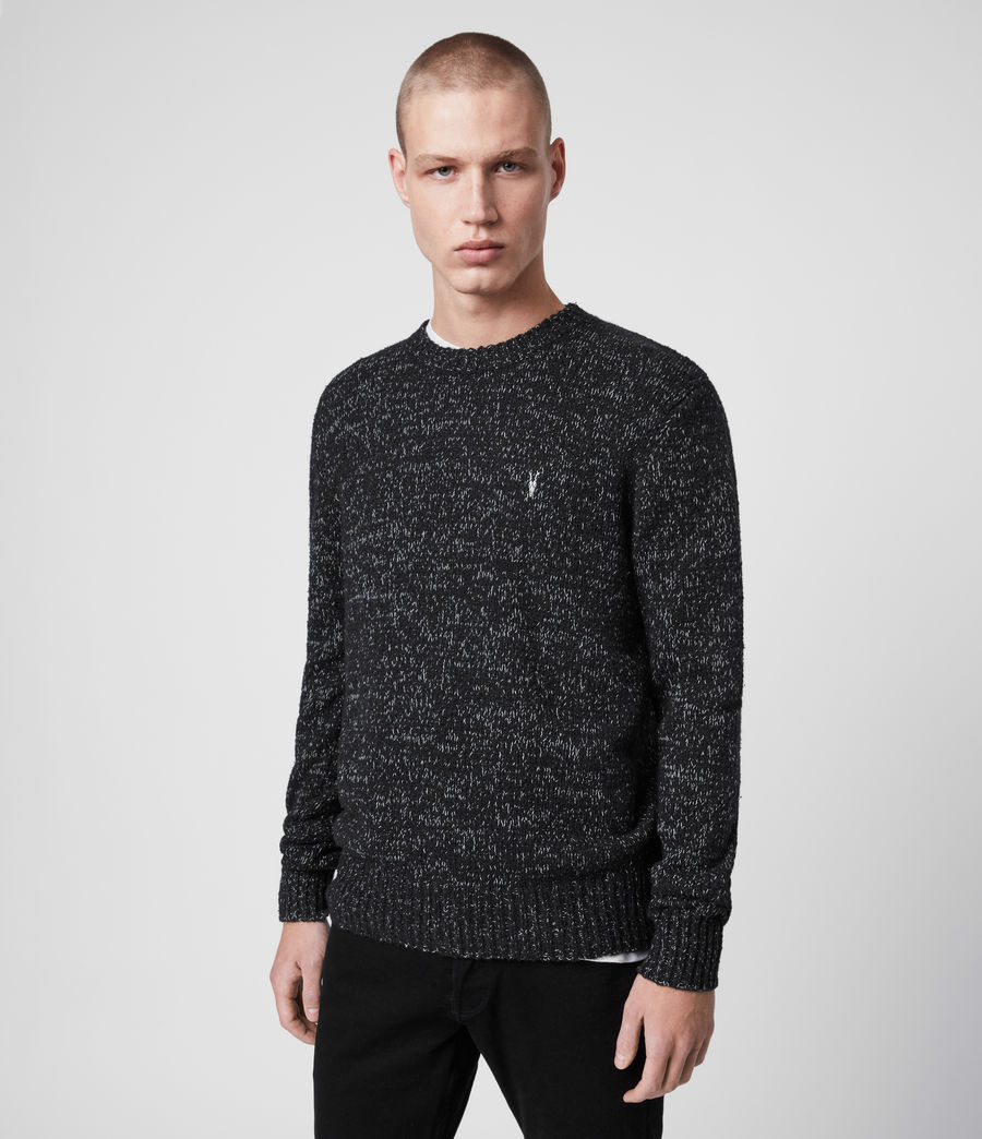 Mens Spire Crew Sweater (black_marl_ecru) - Image 3