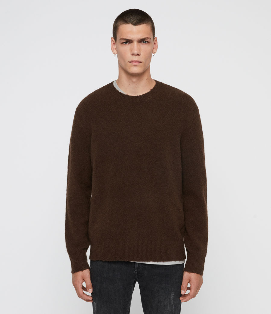 Men's Kez Crew Jumper (umber_brown) - Image 1