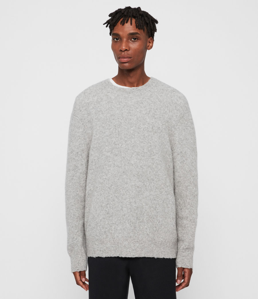 Mens Kez Crew Sweater (tin_grey_marl) - Image 1