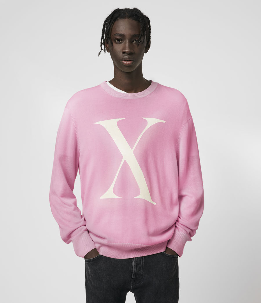 Mens Hidden Color Changing Crew Sweater (ecru_pink) - Image 2