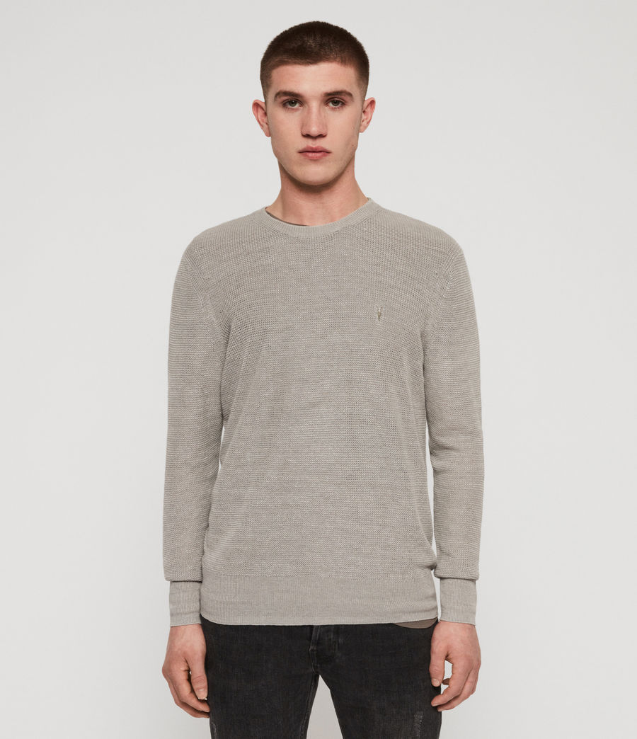 Men's Tarn Linen Crew Jumper (pewter_grey) - Image 1
