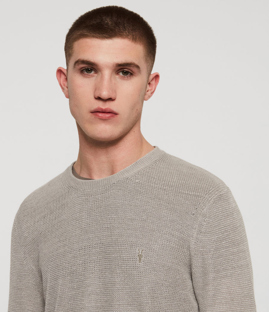 Men's Tarn Linen Crew Jumper (pewter_grey) - Image 2