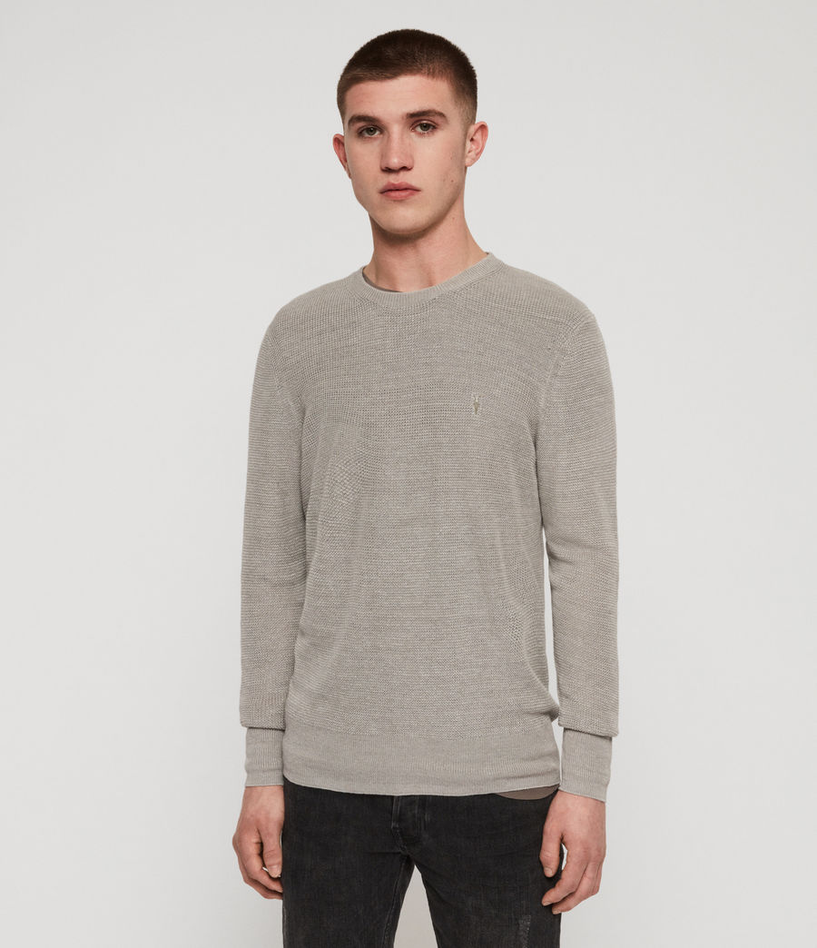 Men's Tarn Linen Crew Jumper (pewter_grey) - Image 4