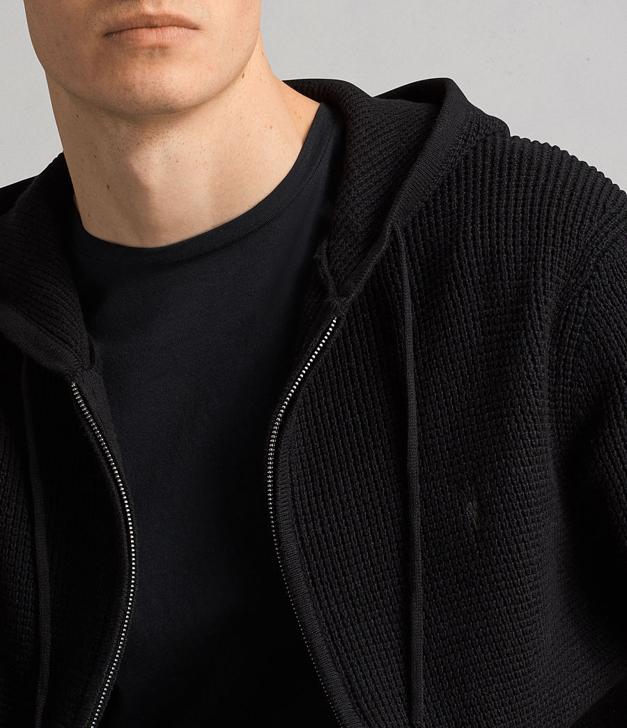 Men's Mert Knitted Zip Hoody (black) - Image 3