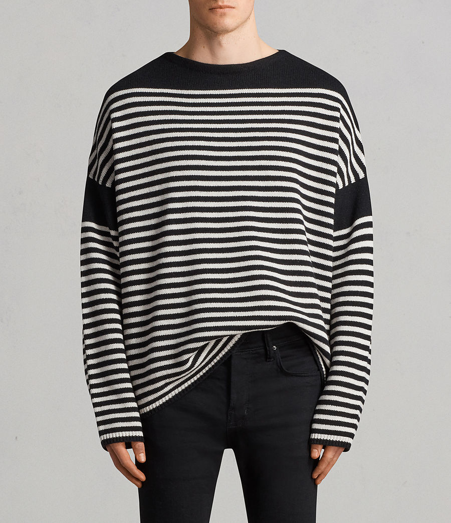 d4126126e ALLSAINTS UK  Mens Alzette Crew Jumper (black ecru white)