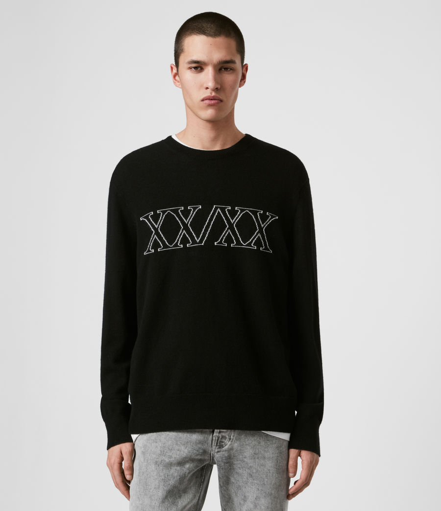 Uomo Maglione Decem - In lana con grafica XXXX (blk_ecru_grey_marl) - Image 1
