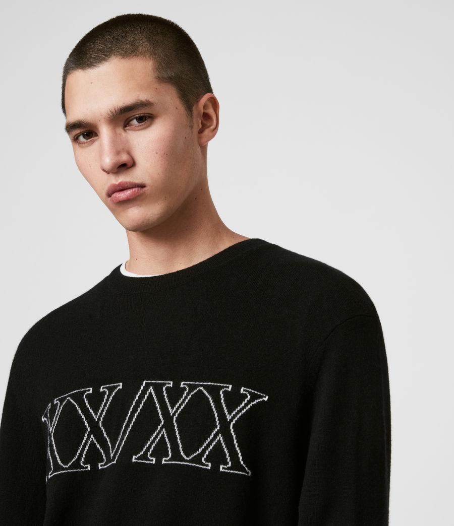 Mens Decem Crew Sweater (blk_ecru_grey_marl) - Image 2
