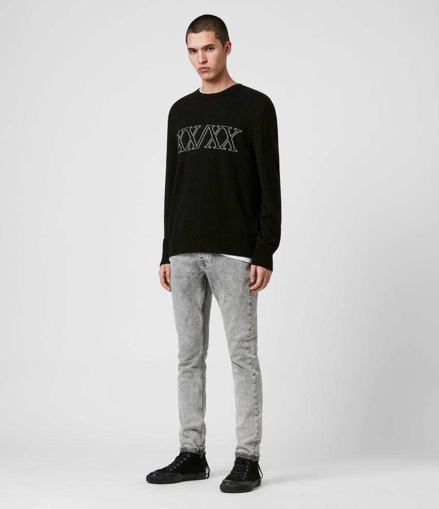 Mens Decem Crew Sweater (blk_ecru_grey_marl) - Image 3