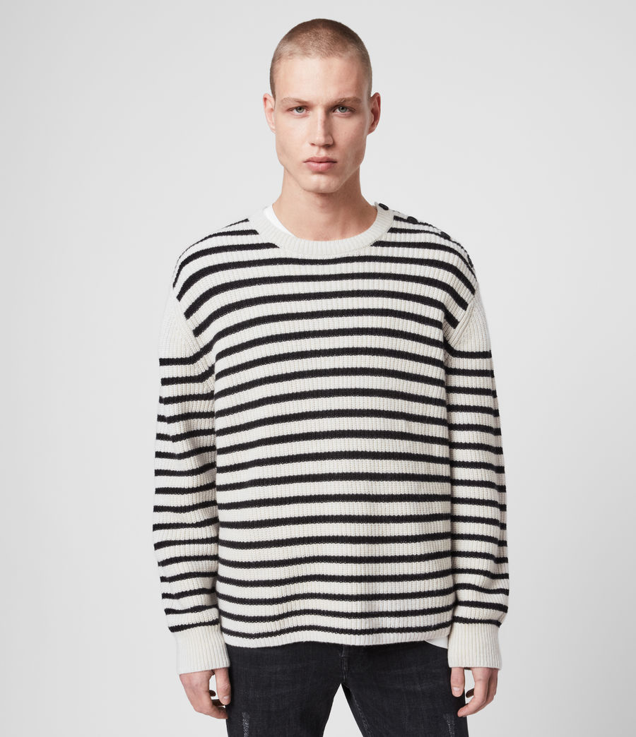 Mens Lewes Crew Sweater (ecru_black) - Image 1