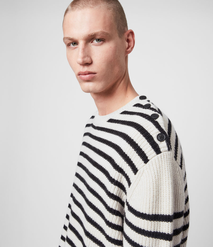 Mens Lewes Crew Sweater (ecru_black) - Image 2