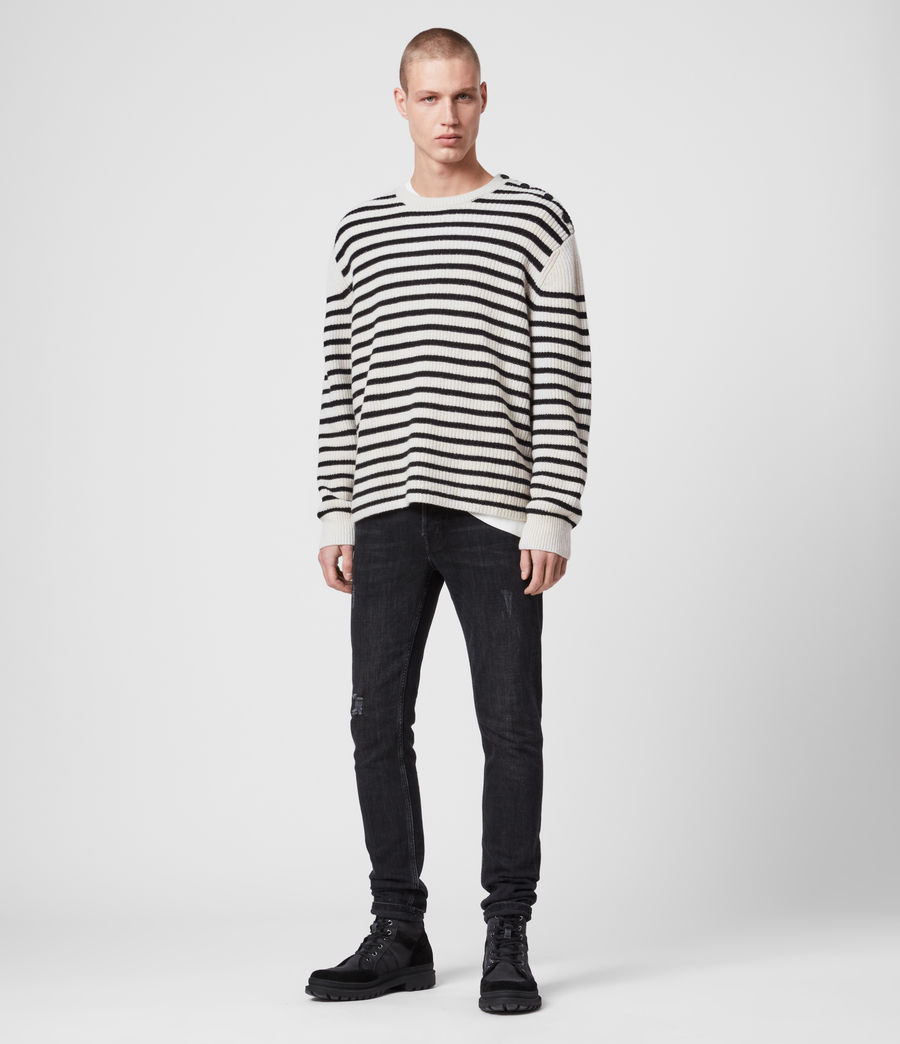 Mens Lewes Crew Sweater (ecru_black) - Image 3
