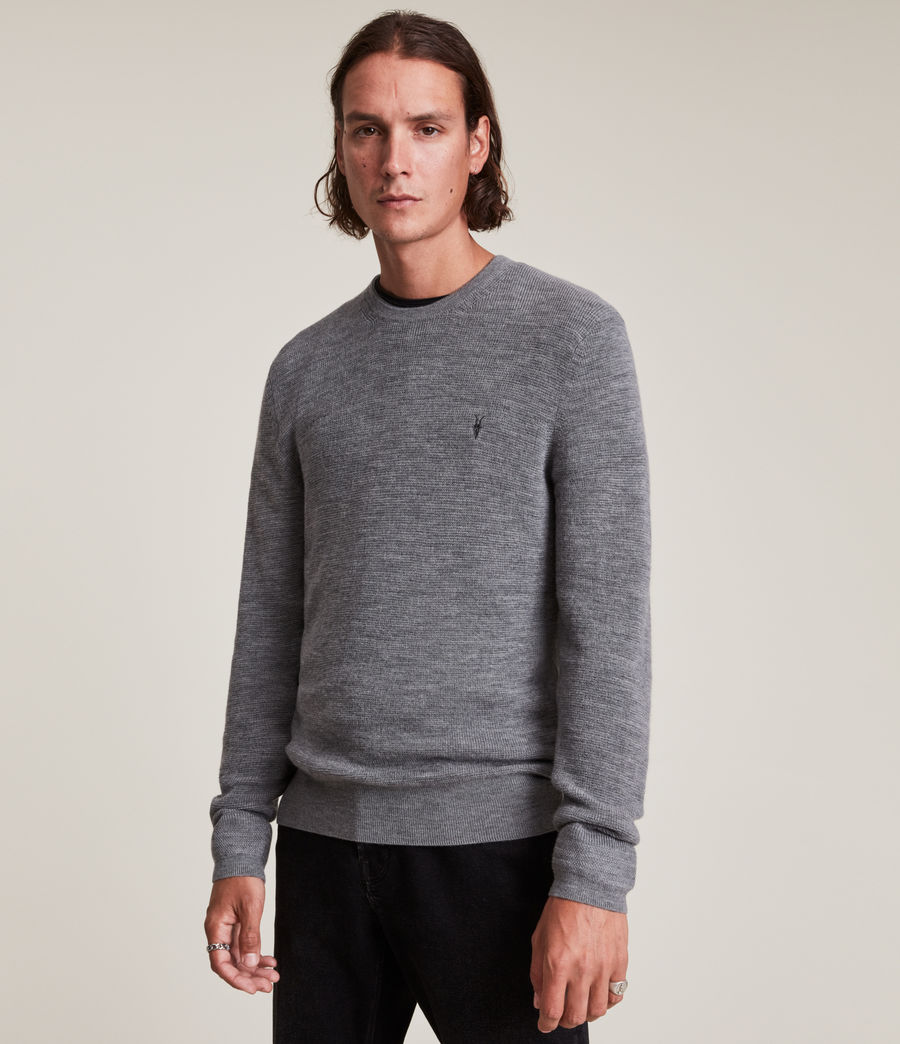 Mens Ivar Merino Crew Sweater (grey_marl) - Image 2