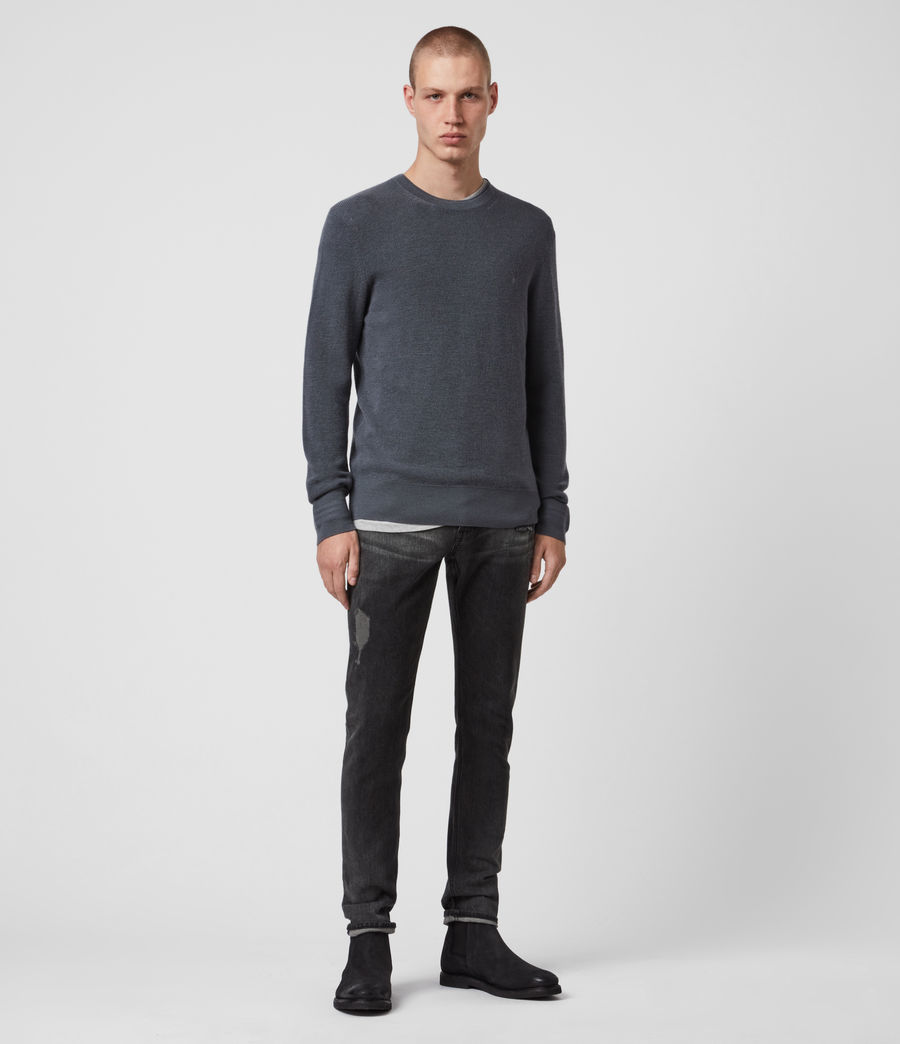 Mens Ivar Merino Crew Sweater (shadow_blue) - Image 1