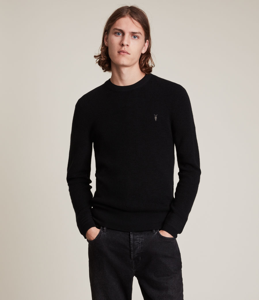 Mens Ivar Merino Crew Sweater (black) - Image 1