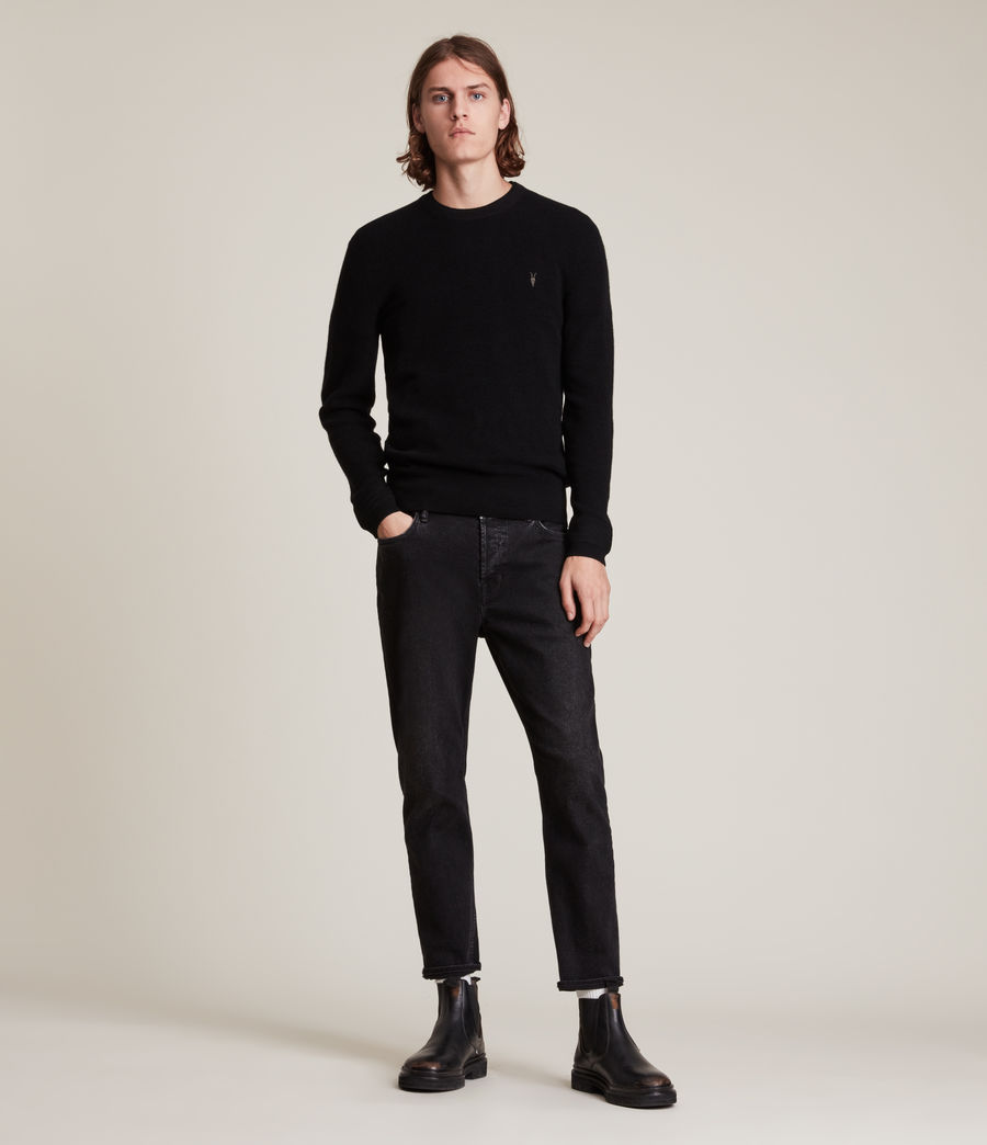 Mens Ivar Merino Crew Sweater (black) - Image 3