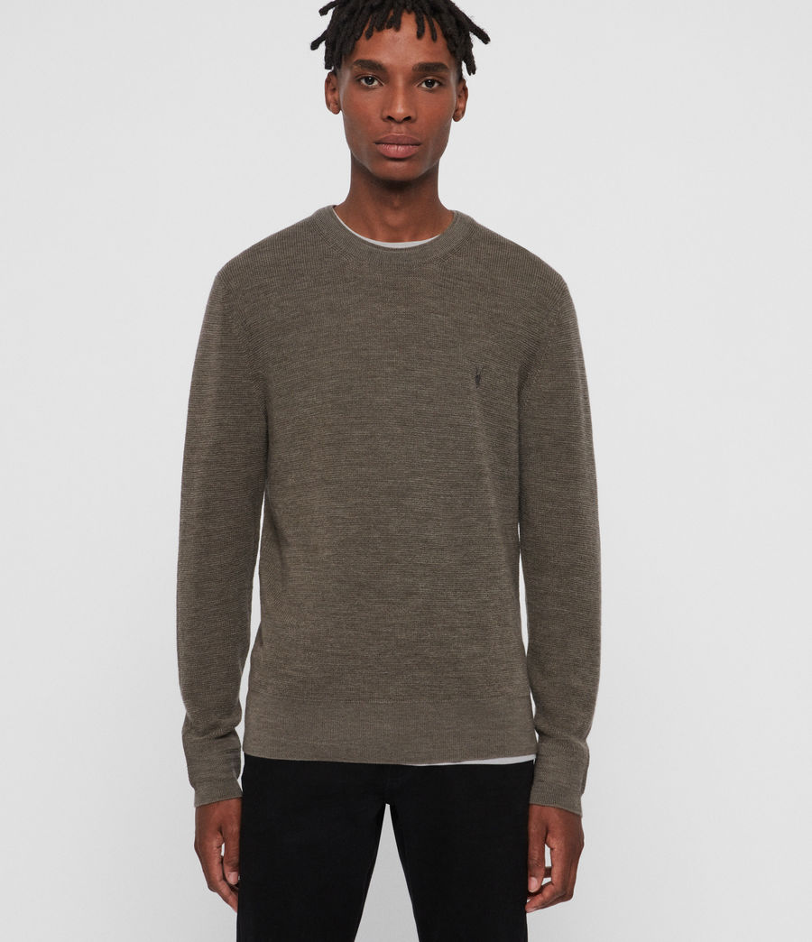 Men's Ivar Merino Crew Jumper (bark_green_marl) - Image 1
