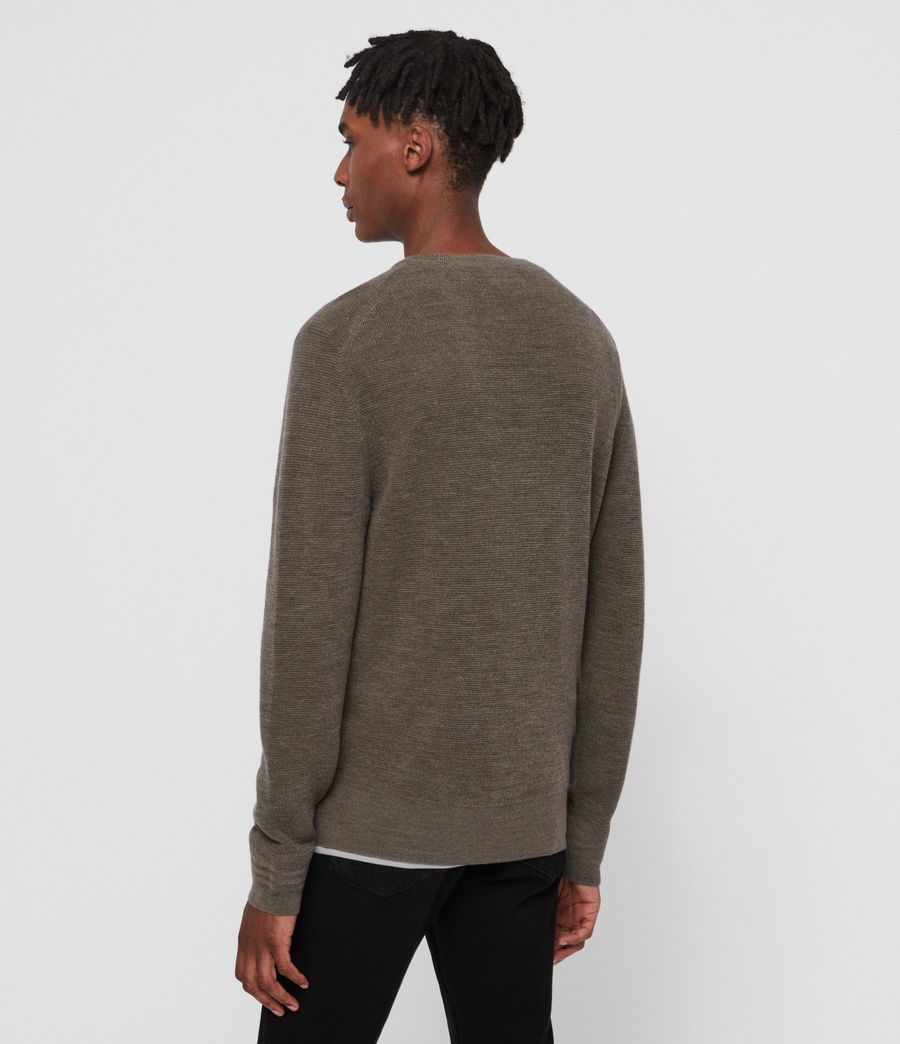 Men's Ivar Merino Crew Jumper (bark_green_marl) - Image 5