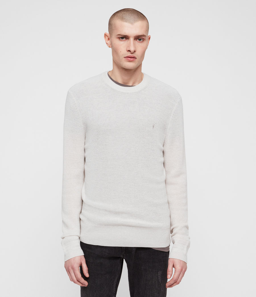 Mens Ivar Merino Crew Sweater (ecru_grey_marl) - Image 1