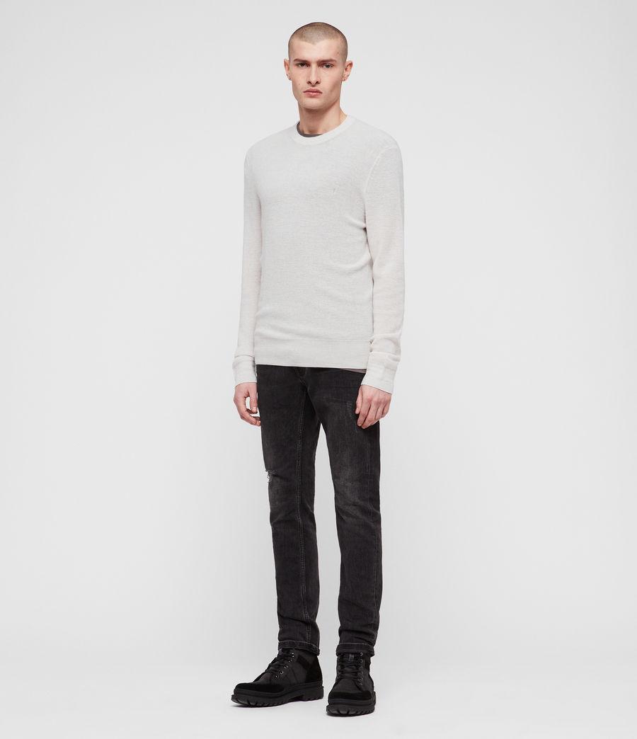 Mens Ivar Merino Crew Sweater (ecru_grey_marl) - Image 3