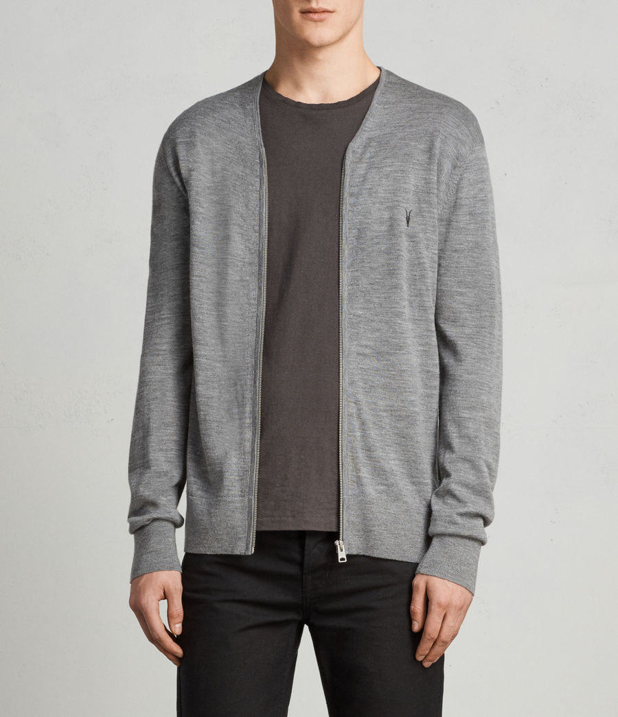 Uomo Cardigan Mode Merino Zip (grey_marl) - Image 1