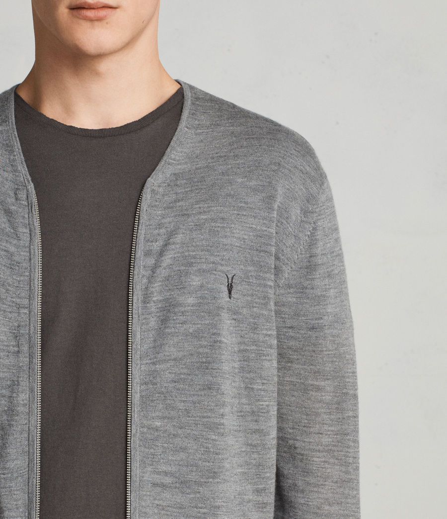 Uomo Cardigan Mode Merino Zip (grey_marl) - Image 2