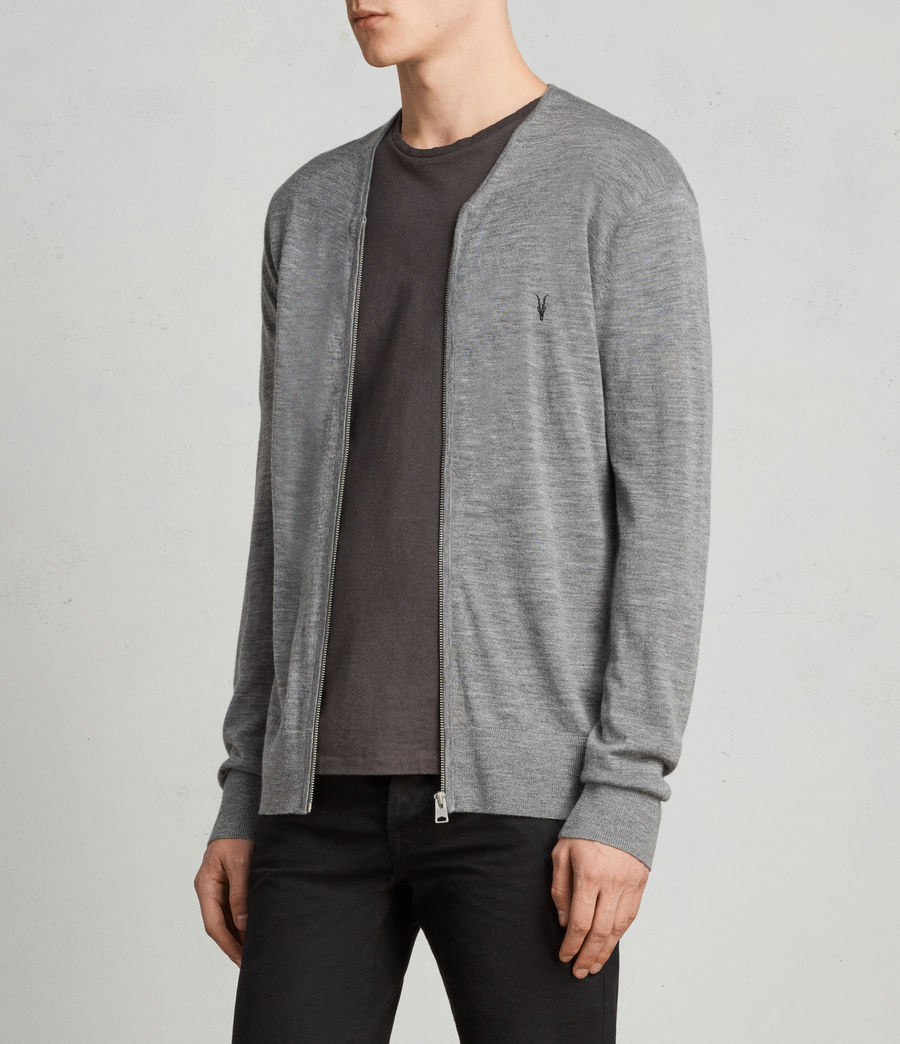 Uomo Cardigan Mode Merino Zip (grey_marl) - Image 3
