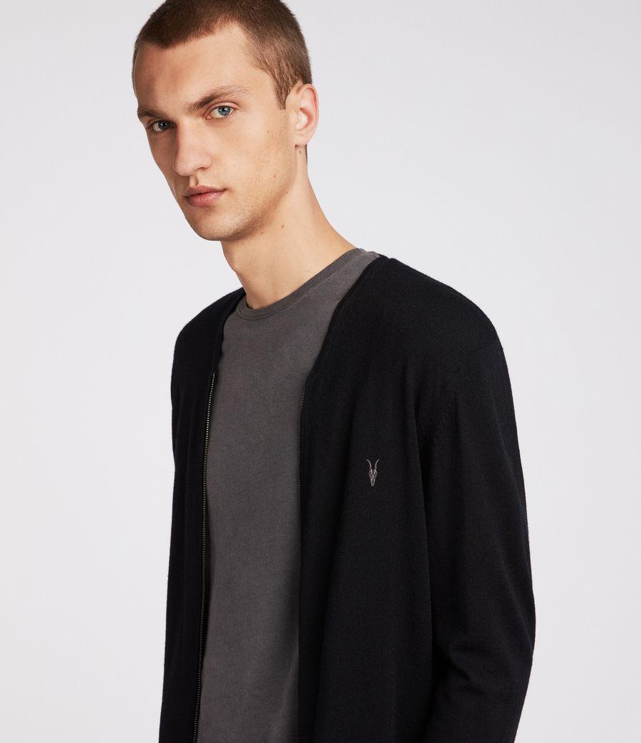 Mens Mode Merino Zip Cardigan (black) - Image 2