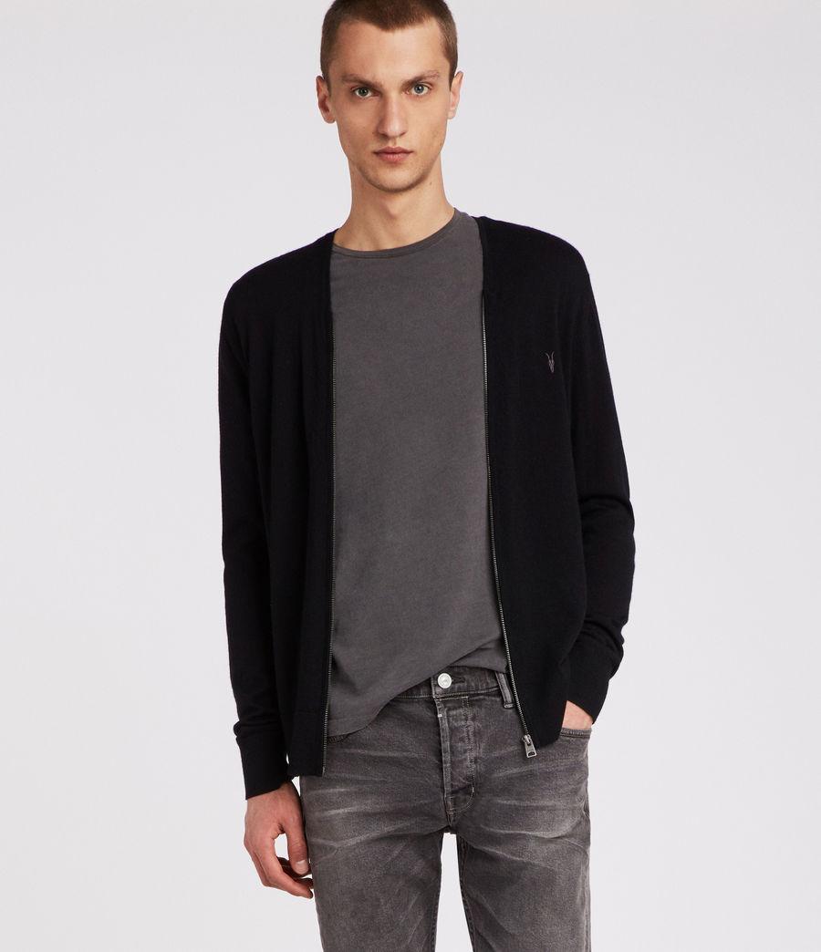 Mens Mode Merino Zip Cardigan (black) - Image 3