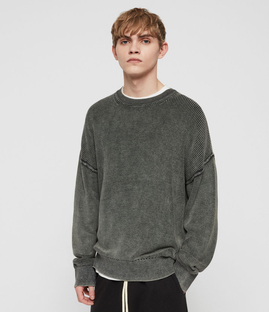 Mens Bleach Crew Sweater (washed_black) - Image 1