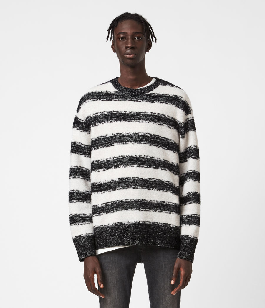Men's Lexi Crew Jumper (black_ecru) - Image 1