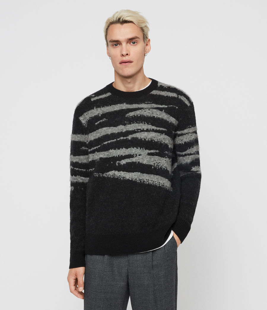 Men's Ture Crew Jumper (black_grey_marl) - Image 1