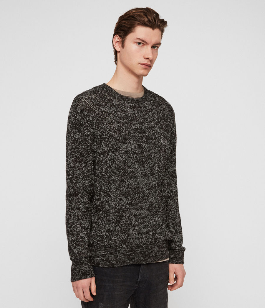 Men's Oskett Crew Jumper (black_mouline) - Image 1