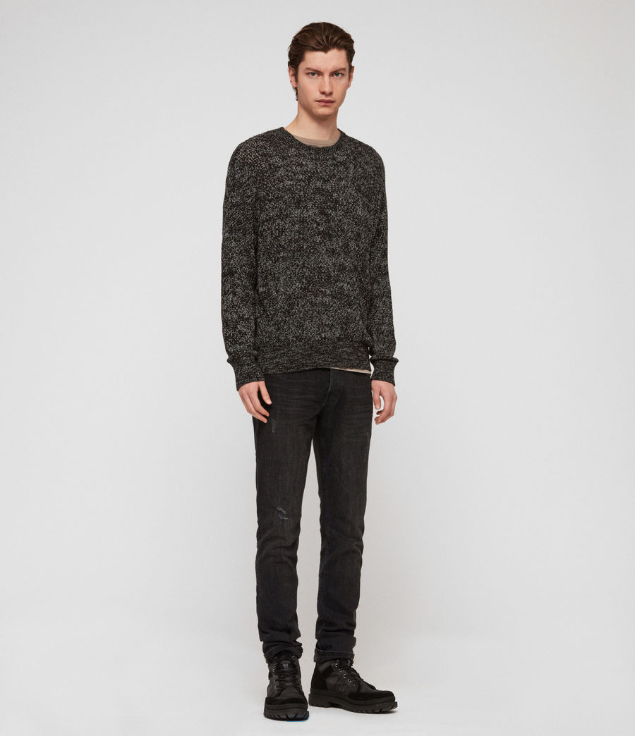 Men's Oskett Crew Jumper (black_mouline) - Image 2